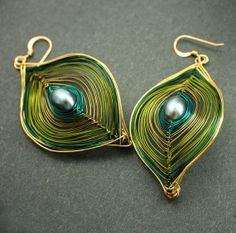 Olive Green and Gold Peacock Earrings Ships Free to US by Woojoo