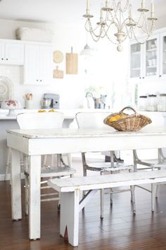 Dining room. White, Grey, Black, Chippy,Shabby Chic, Whitewashed, Cottage, French Country, Rustic, Swedishdecor Idea. ***Pinned by oldattic ***