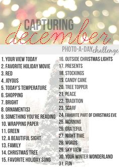 December Photo-a-Day Challenge. This is such a fun idea for the holiday season!good for December Daily ideas Noel Christmas, Christmas Photos, Winter Christmas, All Things Christmas, Christmas Journal, Christmas Challenge, Christmas Ideas, Christmas Traditions, Christmas Activites