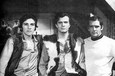 """Tarcísio Meira, Cláudio Cavalcanti, Macedo Neto e Cláudio Marzo em Irmãos, Cena da novela """"Irmãos Coragem"""" que foi ao ar entre 1970 e 1971"""