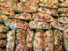 Stuffed Jalapeños! I had a few people ask for this post again, remember if you share this, it will be saved on your timeline and you can always find it that way Only 4 ingredients, LOW CARB, and delicious!!! These are gone in 10 minutes at any get together I take them to... they are seriously that good. Ingredients: 1 lb ground sausage (HOT if ya like! ) 22 jalapeños 1- 8 oz block cream cheese, softened 1 cup grated Parmesan cheese Directions: Preheat over 425. Cook sausage until browned…