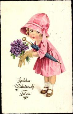 Postcard Glückwunsch Geburtstag, Mädchen mit Blumenstrauß, Regenschirm, Blumen