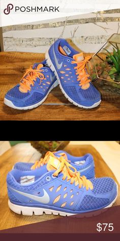 Nike Flex Runs Super comfy and cute. Blue and orange. Gently worn. Breathable mesh. Offers welcome.                                   Tags: Nike, under armour, beach, run, bikini, body, summer, workout, gym Nike Shoes Athletic Shoes