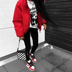 Nike Air Jordan, red bomber jacket - All About Tomboy Outfits, Chill Outfits, Dope Outfits, Trendy Outfits, Fashion Outfits, Fresh Outfits, Swag Outfits, Ladies Fashion, Hijab Fashion