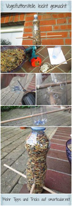 Futterstelle für Vögel aus PET Flasche basteln #Vögel #vogelhaus #petflasche #smarticular