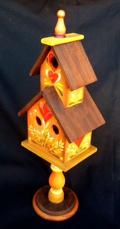 ORANGE PEDESTAL BIRDHOUSE Hand Painted in by KrugsStudio on Etsy, $59.99