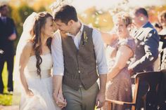 """Why We Love It:How sweet is this post-ceremony photo? We love the excitement and adoring gazes they're giving each other.Why You Love It:""""Such a romantic, pure moment of joy!""""—Kristin E."""