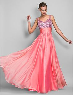 Vestido Largo Gasa con Lentejuelas Color Sandía @ Vestidos de Fiesta Baratos Blog