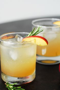 Rosemary Nectarine Whiskey Sour from A Duck's Oven. A twist on the classic cocktail with the addition of a rosemary nectarine simple syrup.