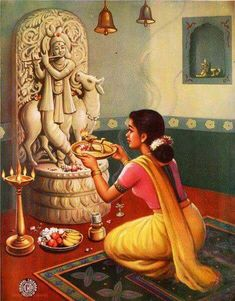 Devotee Meera worshipping Lord Krishna, Spiritual Teaching might even be the greatest of the arts since the medium is the human Heart and Spirit and we become love with learning is being rhythm. Krishna Painting, Krishna Art, Lord Krishna, Radhe Krishna, Shree Krishna, Krishna Images, Hanuman, Lord Shiva, Durga