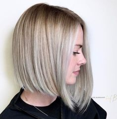 Ash Blonde Angled Bob For Straight Hair