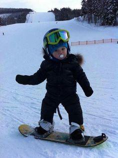 Snowboard - check, glasses- check, helmet - check, binky - check!