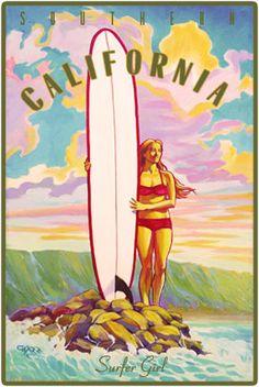 Surfer+Girl+Retro+California+Vintage+Surf+Poster