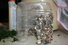 Easy DIY Stone Veneer for Fairy Garden Houses Great idea adhere pebbles to water bottle cut to size --- Great idea for a child to build, or a gift that can be made for a child --- Garden Crafts, Garden Projects, Garden Art, Big Garden, Easy Garden, Craft Projects, Fairy Garden Houses, Gnome Garden, Fairy Gardens