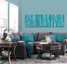 Gray and teal wall art – 3 piece canvas abstract set / Blue & green living room, dining or bedroom a - All About Decoration Teal Walls, Teal Living Rooms, Teal Wall Art, Living Room Decor, Home Decor, Living Room Interior, Coastal Living Rooms, Room Decor, Living Room Grey