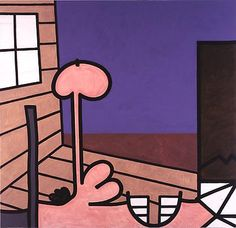 carroll dunham.Edge of His World (One) 2002-03 81 x 84 inches Mixed media on linen