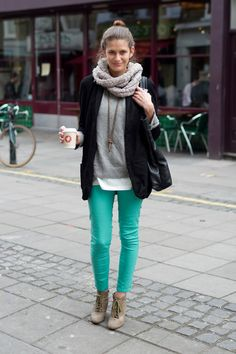 teal pants + grey