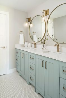 Double Vanity Bathroom - Bathroom with light blue cabinets. - Double Vanity Bathroom – Bathroom with light blue cabinets. Bathroom Renos, Bathroom Renovations, Small Bathroom, Home Remodeling, Downstairs Bathroom, Blue Bathroom Vanity, Bathroom Fixtures, Seafoam Bathroom, Bathroom Lighting