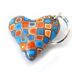 Bag Charm Polymer Clay Heart Keychain in Orange by RolyzTreasures, $16.00