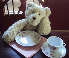 "Stuffed bears get impatient when the tea isn't ready yet! Tea party by ""Flour Me With Love"""