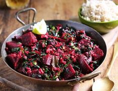 Beetroot adds a sweet, earthy element to this creamy Sri Lankan curry. It's made with coconut milk, aromatic curry leaves, coriander and cumin, and served with nutty brown basmati rice. Vegetarian Curry, Vegetarian Recipes, Cooking Recipes, Healthy Recipes, Curry Recipes, Vegetable Recipes, Indian Food Recipes, Asian Recipes, Sri Lankan Recipes
