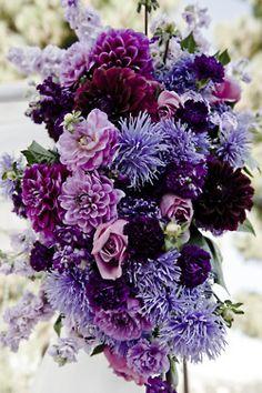 Monochromatic purple floral arrangement
