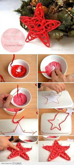 starched yarn star ornament photo tutorial...but can use for other projects...just a guide