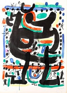 Artwork by Joan Miró, Poster for the Opening of Mourlot Atelier in New York, Made of Lithograph in colors on Rives BFK paper