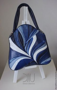 """сумочка """"Перо макси"""".. - синий,в полоску,шикарный подарок,сумочка ручной работы"""