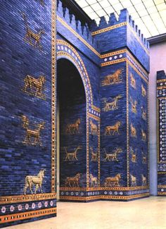 The Ishtar Gate or Lions Gate of Ancient Babylon, one of the best preserved ancient artifact in the world, at the Pergamon Museum, Berlin.