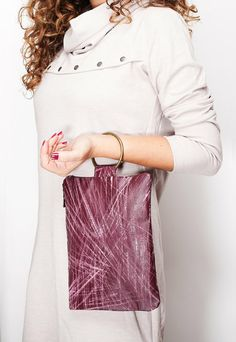 ON SALE 30 Purple leather wristlet leather bag by maykobags, $66.50