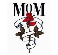 "Mom Rose Temporaray Tattoo by Tattoo Fun. $4.95. This temporary tattoo has a red Rose wrapped with a white Ribbon. Above the rose reads ""MOM"". The image is 1""x 1.75"".\r\nMother, Flower."