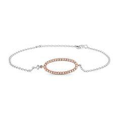 Diamond Oval Bracelet in 14k White and Rose Gold 404
