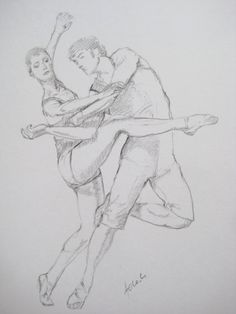 Ballet dancers drawing Original art by whatsNew on Etsy, $65.00