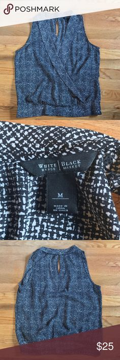 White House Black Market Top This White House Black Market sleeveless wrap top is fantastic condition! So cute for the office or a night on the town! White House Black Market Tops Blouses