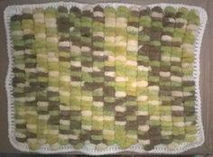 baby blanket handknit, washable pompom yarn (boys, pram, Acrylic, multi, Rico)