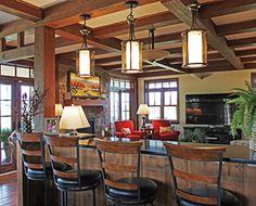 Timber Frame Homes - Homestead Timber Frames - Handcrafted Timber Frames - Timber Frame Living Room - Timber Frame Dining Room