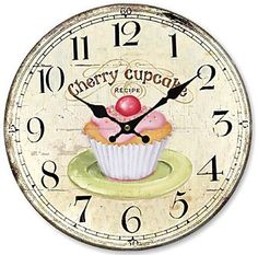 Telisha Retro Design Large Clock Pink Cherry Cupcake Home Decorative Wall Clock Wood Clock Printable, French Clock, Image Digital, Wall Clock Online, Cool Clocks, Rustic Wall Clocks, Cupcake Art, Modern Dollhouse, Vintage Labels