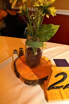 Another centerpiece...complete with our initials carved in the wood!