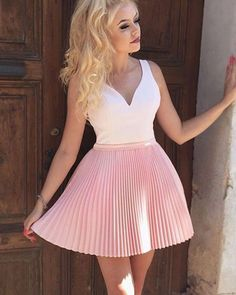 A-Line V-Neck Pleated Pink Satin Homecoming Dress with Appliques Beading Best Formal Dresses, Short Dresses, Short Winter Formal Dresses, Lace Dresses, Wedding Dresses, Classy Evening Gowns, Mini Party, Cheap Homecoming Dresses, Cheap Dresses