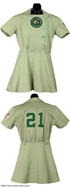 AAGPBL uniform. Classic. Not just a jersey, but a dress as well. #socent & sports jerseys?