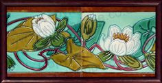 ANTIQUE c.1905 HEMIKSEM GILLIOT BELGIAN ART NOUVEAU TWO TILE LILY SET, FRAMED. Price: £175.00. For more information about this item click here: http://www.richardhoppe.co.uk/item.php?id=2675 or email us here: info@richardhoppe.co.uk