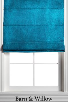 Custom Roman Shade in a bold teal color. Made of velvet, our custom window treatments are hand-stitched by expert hands and add a touch of texture and style to any room. Custom Roman Shades, Custom Window Treatments, Velvet Color, Teal Colors, Color Shades, Window Coverings, Hands, Curtains, Touch