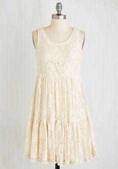 Pom-Pom Springs Dress - White, Solid, Casual, Boho, Empire, Sleeveless, Woven, Good, Mid-length