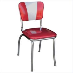 Richardson Seating Retro 1950s V-Back Diner Chair in Glitter Sparkle Red and Glitter Silver - 4120ZBU