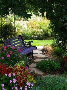 - Shade garden ideas - Bench & path for shady area  Showy Shade Gardens | The Garden Glove