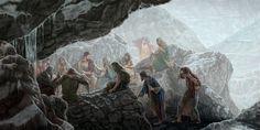 Jesús y sus discípulos buscan un refugio para protegerse de la lluvia