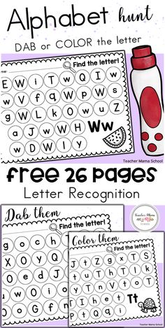 Students would have fun identifying letters in both the uppercase and lowercase with these FREE practice sheets! All 26 letters of the alphabet are included. Teaching Letters, Preschool Letters, Teaching Letter Recognition, Preschool Letter Worksheets, Preschool Learning Activities, Kindergarten Literacy, Teaching Resources, Kindergarten Colors, Spanish Activities