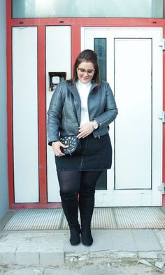 The lovely Josephine from The Bigger Blog looks fab in our Charcoal Biker Jacket