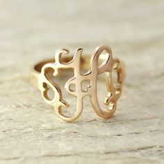monogram ring  925 sterling silver hand stamped ring personalized jewelry monogram jewelry rose gold plated